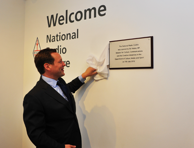 The moment Ed Vaizey, Minister for Culture, Communications and the Creative Industries, formally opened the RSGB National Radio Centre